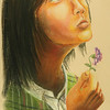 """Girl with Flower""<br /> Medium: Pastel"
