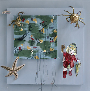 Ursula Conquers Monday  Eisenhower era textile sample and coloring book illustrations, frog, sand crab, crayfish claw, starfish, seashell, pod, silk thread, beads, paints, on canvas in Lucite box 20 x 20 x 5 in.