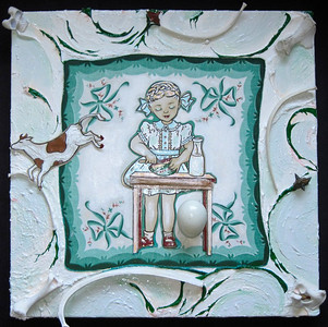Heidi's Incredible Cake Batter   Eisenhower era handkerchief and coloring book illustrations,  snake skin, deer bones, pods, hen egg, paints, on canvas in Lucite box  20 x 20 x 5 in.