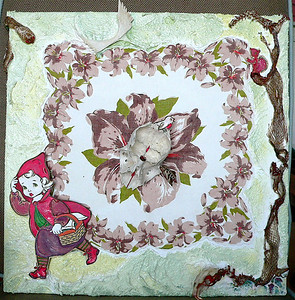 Little Red Remembering	  Eisenhower era handkerchief and coloring book illustrations,  snake skin, 2 animal skulls and bones, moth,  gesso, enamel/canvas  in Lucite box  20 x 20 x 5 in.