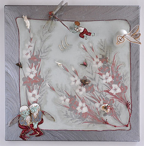 Hans Matriculates  Eisenhower era handkerchief and coloring book illustrations,  dragon fly, bird bones, hen egg, cicada wings, insects, pod, bird legs and claws, paints, on canvas in Lucite box.  20 x 20 x 5 in.