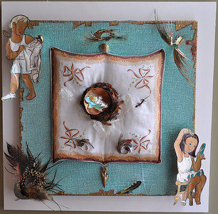 Mary and Joseph Get Dressed  Eisenhower era handkerchief and coloring book illustrations, salamander, wasp nest, goose egg shell, various species of bird feathers, beak, skeleton, cicadas, seashells, vintage lace, chipmunk tail, cheesecloth, paints, on canvas in Lucite box 20 x 20 x 5 in.
