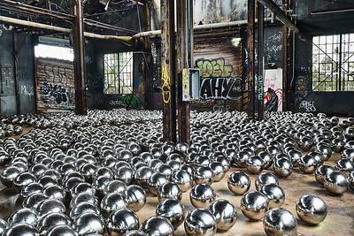 July 15, 2018 - Fort Tilden, NY   Yahoo Kusama's Narcissus Garden installation at Fort Tilden in the Rockaways - MoMA/PS1/Rockaway Artist Alliance RAA)   Photographer- Robert Altman Post-production- Robert Altman