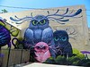 This Owls mural by artists Jeff Soto (FB page - Jeff Soto Art) and Maxx242 (FB page - Maxx242) is in Riverside, Calfornia behind Pixels bar.