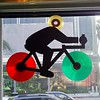 Vinyl disc bike art at Amoeba Records, Hollywood.