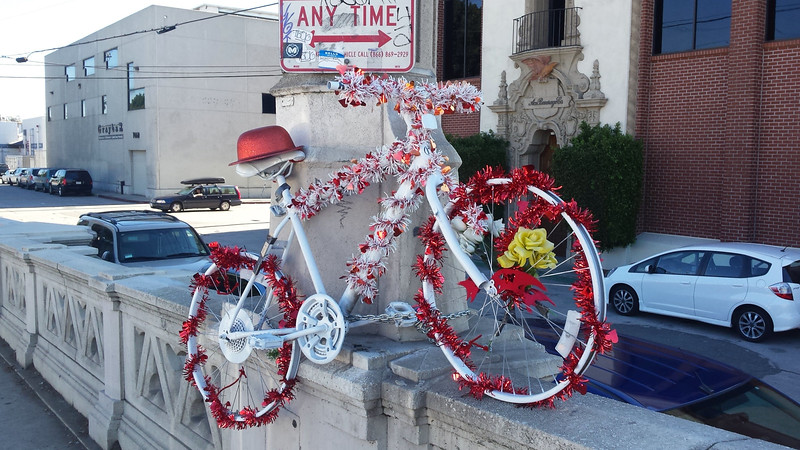 A Ghost Bike commemorates a fallen cyclist. 4th street bridge, dtla.