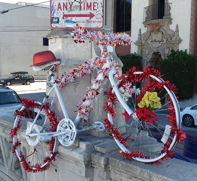 A Ghost Bike in honor of a fallen cyclist. 4th street bridge, dtla