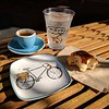 A pleasant snack for a cyclist at Café de Leche, Highland Park.