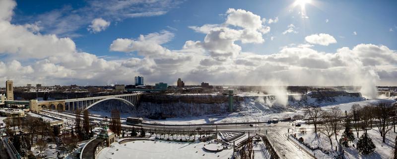Panorama of Niagara Falls in Winter from Canadian side - Rainbow Bridge, American Falls, Horsehoe Falls, Oakes Garden Theatre