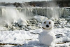 Snowman at Niagara Falls in Winter - American Falls