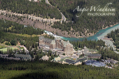Banff Springs Hotel view from Sulphur Mountain gondola.