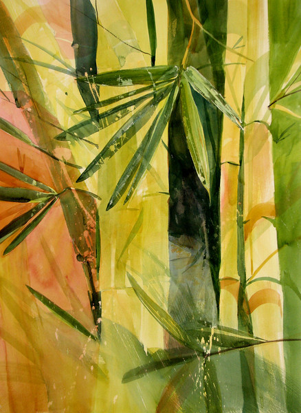 "Bamboo Symphony<br /> watercolor<br /> 22"" x 30"""