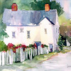 "Pink House on Gold Street<br /> watercolor<br /> 22"" x 15"" SOLD"