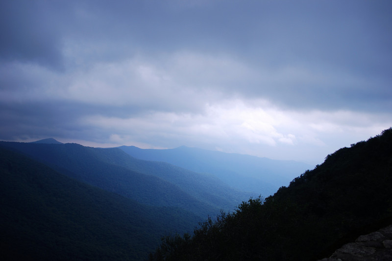 A photograph of the mountains along the Blue Ridge Parkway near Craggy Gardens
