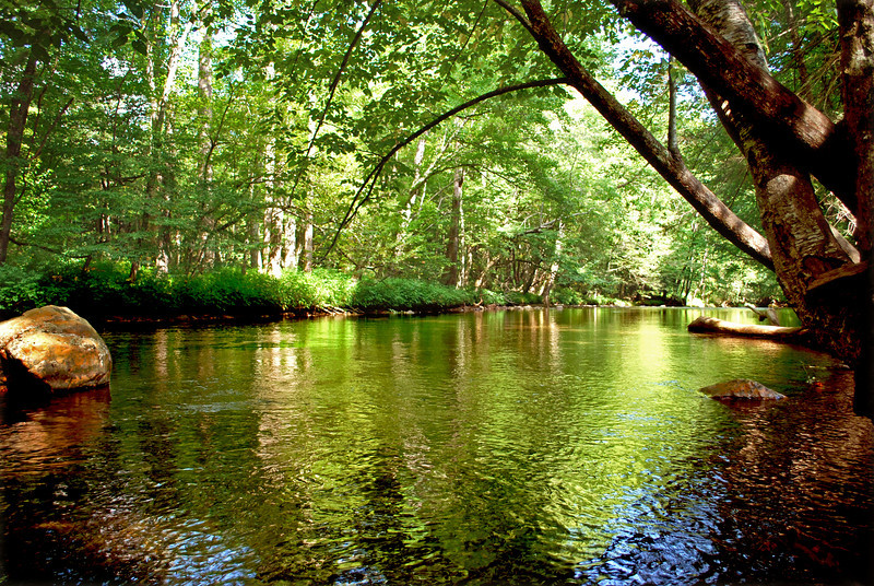 The Oconaluftee River in Cherokee, NC - part of the Great Smoky Mountains