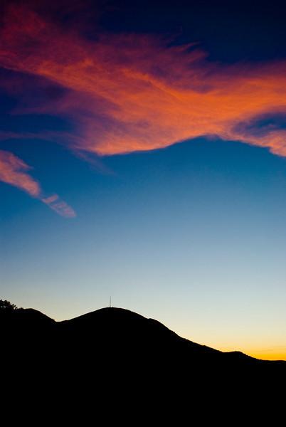 View of Mount Pisgah at sunset along the Blue Ridge Parkway