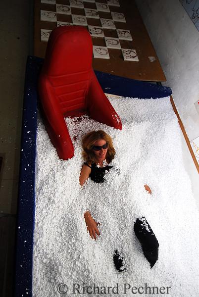 "Carla lounging in the ""pool"""