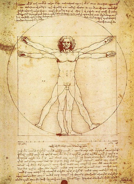 """""""Vitruvius, the architect, says in his work on architecture that the measurements of the human body are distributed by Nature as follows: that is, that 4 fingers make 1 palm and 4 palms make 1 foot, 6 palms make 1 cubit; 4 cubits make a man's height. And 4 cubits make one pace and 24 palms make a man; and these measures he used in his building. If you open your legs so much as to decrease your height 1/14 and spread and raise your arms till your middle fingers touch the level of the top of your head you must know that the center of the outspread limbs will be in the navel and the space between the legs will be an equilateral triangle.<br /> <br /> From the nipples to the top of the head will be the fourth part of a man. The greatest width of the shoulders contains in itself the fourth part of the man. From the elbow to the tip of the hand will be the fifth part of a man; and from the elbow to the angle of the armpit will be the eighth part of the man. The whole hand will be the tenth part of the man; the beginning of the genitals marks the middle of the man. The foot is the seventh part of the man. From the sole of the foot to below the knee will be the fourth part of the man. From below the knee to the beginning of the genitals will be the fourth part of the man. The distance from the bottom of the chin to the nose and from the roots of the hair to the eyebrows is, in each case the same, and like the ear, a third of the face.<br /> <br /> A picture or representation of human figures ought to be done in such a way that the spectator may easily recognize, by means of their attitudes, the purpose in their minds. Thus, if you have to represent a man of noble character in the act of speaking, let his gestures be such as naturally accompany good words; and, in the same way, if you wish to depict a man of a brutal nature, give him fierce movements; as with his arms flung out towards the listener, and his head and breast thrust forward beyond his feet, as if following the """