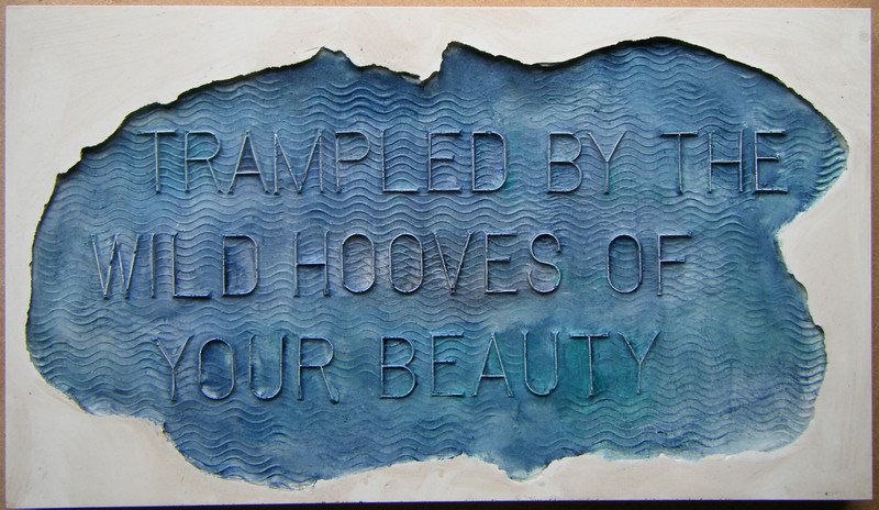 Bamber Hawes ~ 'Trampled by the hooves', coloured Jesmonite panel