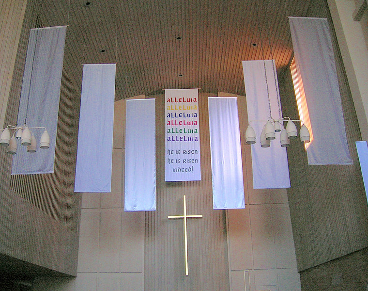 Easter banners in the nave