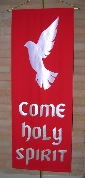 Pentecost banner at the entrance to the sanctuary