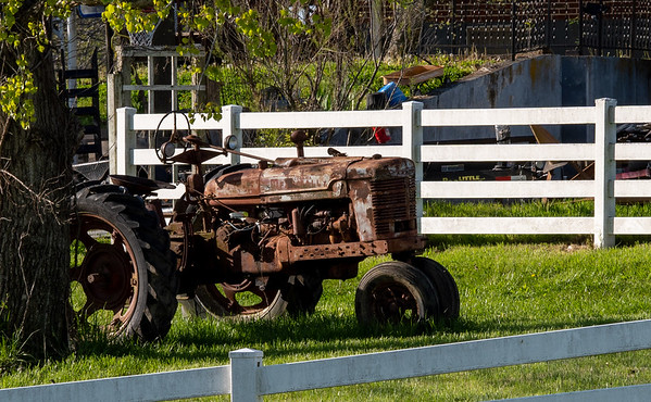 Tractor in neighbour's yard (that is no longer there)