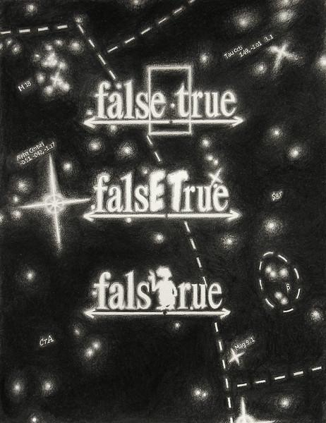 "falsETrue Coordinates. Pencil on paper, 14"" x 17"", 2006."