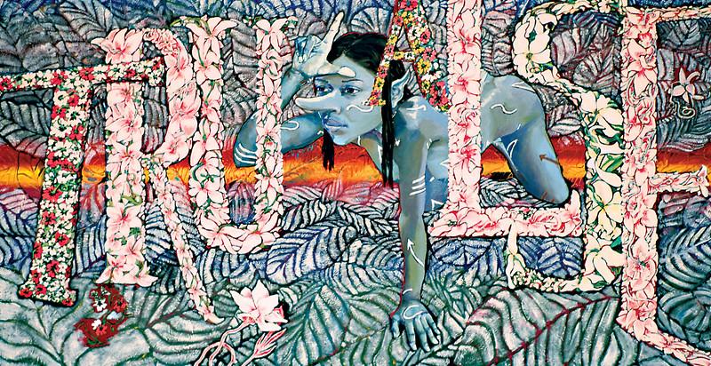 "Garden of Undecidables. Oil paint on linen, 34"" x 56"", 2002."