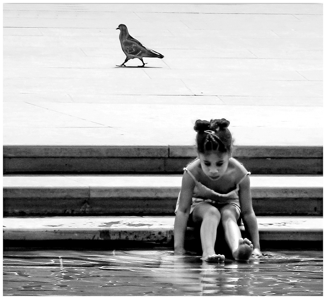 Girl and Pigeon - South Kensington