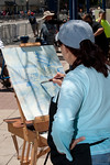 Long Beach Bike Fest Plein Air Competion : En Plein Air is a French expression that means in open air and in particular refers to painting in open air.  The Long Beach Art Council sponsored the Plein Air Competition in  association with this year's Long Beach Bike Festival.  Most of the art shows cycling related scenes from Long Beach.  The art work was displayed at the Phantom Gallery on the Promenade and the top 25 are on display at the Long Beach Art Gallery through the month of May.