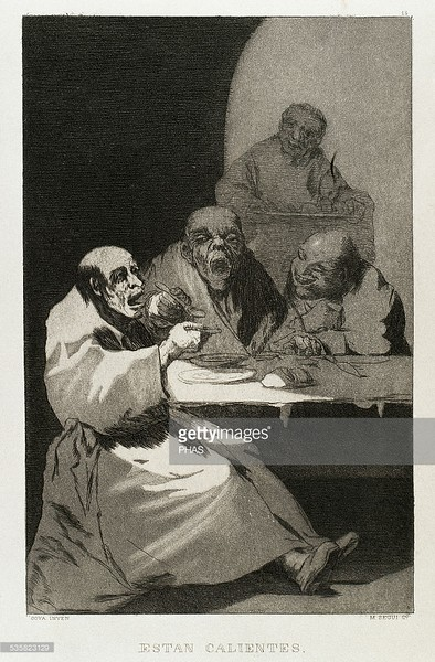 Francisco de Goya (1746-1828). Spanish painter and printmaker. Los Caprichos. Estan calientes (They are hot). Number 13. Aquatint. 1799. Reproduction by M. Segui i Riera.