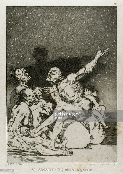 Francisco de Goya (1746-1828). Spanish painter and printmaker. Los Caprichos. Si amanece, nos vamos (If dawns, we're leaving). Number 71. Aquatint. 1799. Reproduction by M. Segui i Riera.