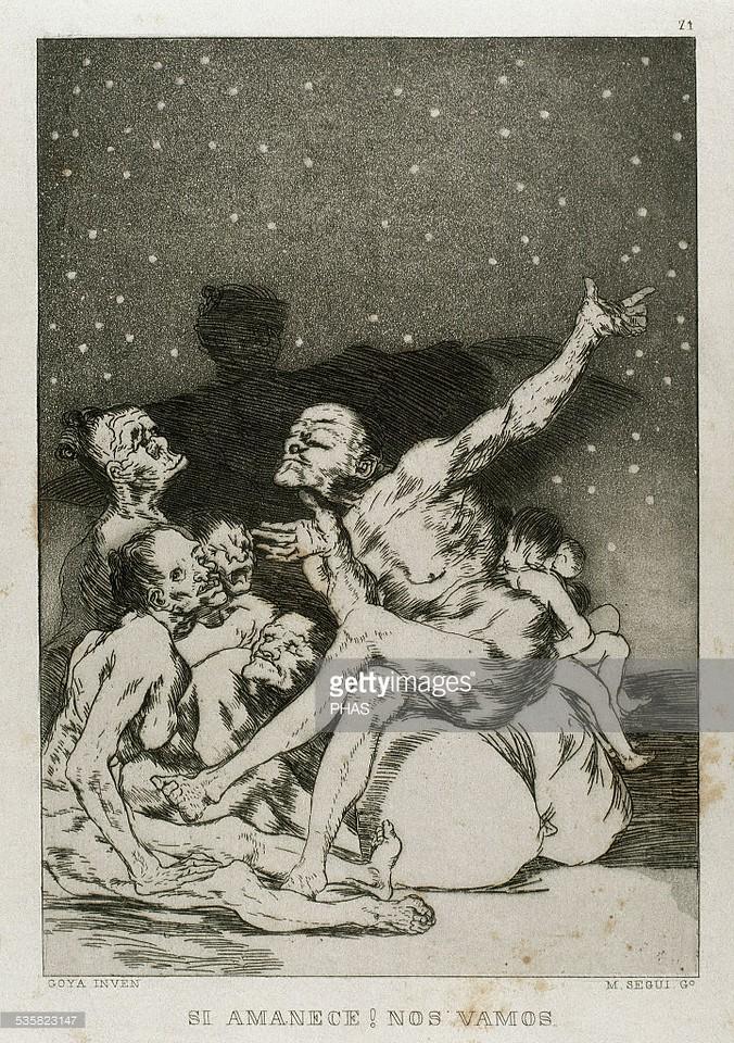 Francisco de Goya (1746-1828). Spanish painter and printmaker. Los Caprichos. Si amanece, nos vamos (If dawns, we're leaving). Number 71. Aquatint. 1799. Reproduction by M. Segui i Riera.
