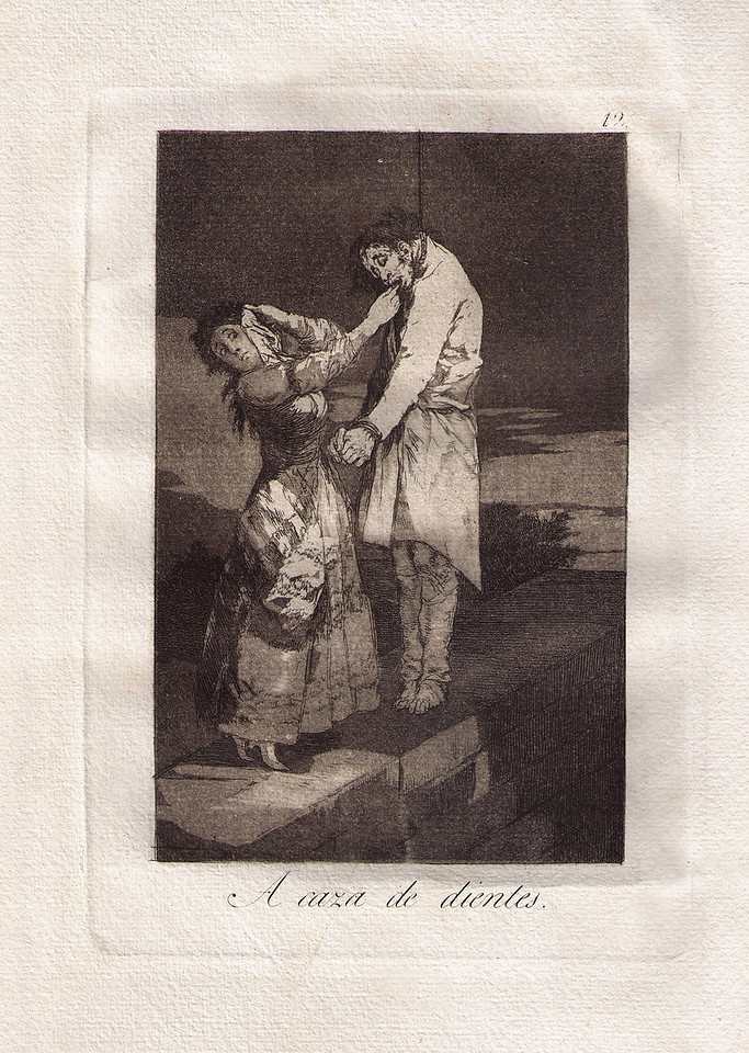 Francisco Goya, 'At Hunting For Teeth' dry point aquatint etching c1798