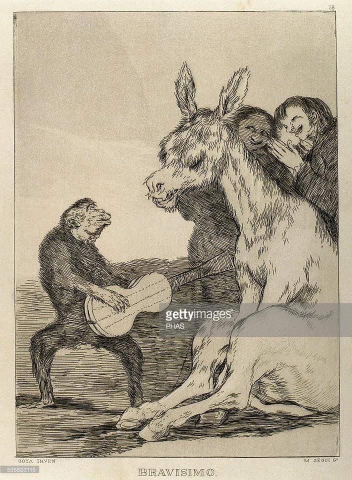 Francisco de Goya (1746-1828). Spanish painter and printmaker. Los Caprichos. ¬°Bravisimo! Number 38. Aquatint. 1799. Reproduction by M. Segui i Riera.