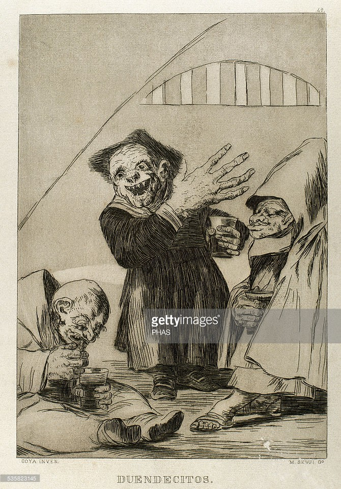 Francisco de Goya (1746-1828). Spanish painter and printmaker. Los Caprichos. Duendecillos (Little Elves). Number 49. Aquatint. 1799. Reproduction by M. Segui i Riera.