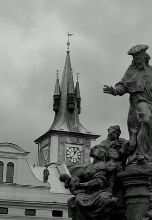 Statue on the Charles Bridge in Prague, Czech Republic.