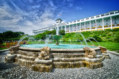 grand hotel landscapes , somewhere in time, fountain,