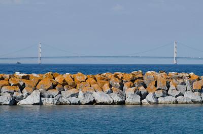 big mac bridge , pure michigan , lake huron , lake michigan