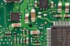 Close up of a hard drive circuit board