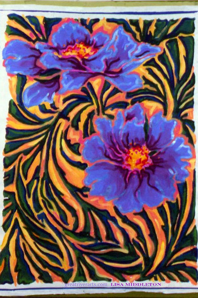 Blue Flowers Fine Art Magnet by Lisa Middleton