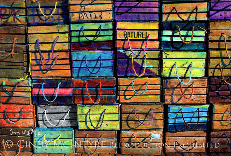 Lobster Crates with Verve - wooden lobster crates in vivid colors, Boothbay Harbor, maine