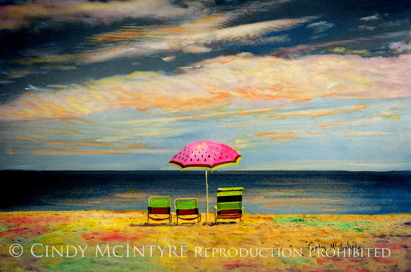 Watermelon umbrella, Old Orchard Beach, Maine