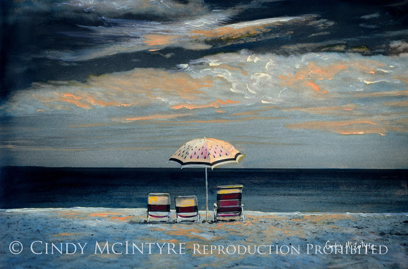 Watermelon Umbrella by Moonlight - Maine beach