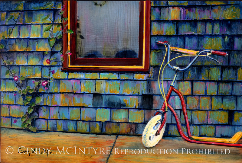 Scooter against shingled wall, Maine