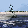 Wreckage of the Mary Ann on Jekyll Island South Beach Point on St. Andrews Sound - Manipulated