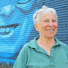 Marion Stoddard, an environmentalist who was instrumental in cleaning up the Nashua River, visited the Fitchburg mural honoring her on Tuesday to see it for the first time. She got to see artists Jon Allen, 38, and Sophy Tuttle, 27, as they worked on it during her visit. Her half done portrait was just behind her as she talked to them. SENTINEL & ENTERPRISE/JOHN LOVE