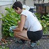 Local artist Sophy Tuttle pulls out weeds at the foundation of the old Gamche's Cyclery building in preparation for upcoming mural honoring Marion Stoddart, an environmentalist who was instrumental in cleaning up the Nashua River. SENTINEL & ENTERPRISE / Ashley Green