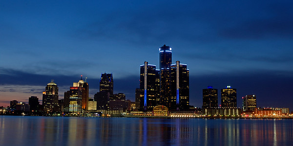 """Detroit evening skyline"""