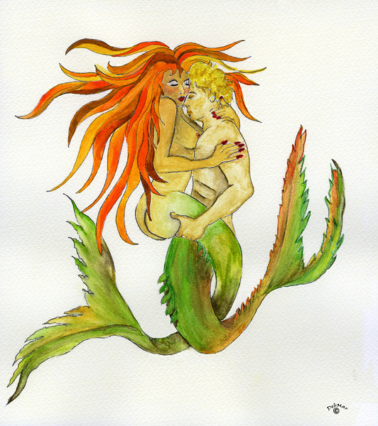 mermaid couple - watercolor  © Deborah Johnson & Mark Johnson